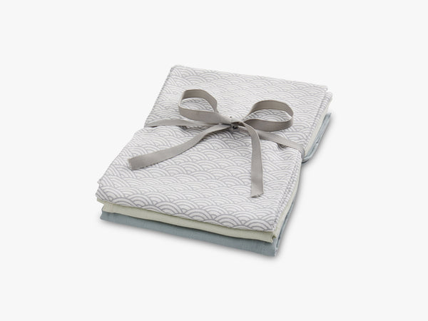 Muslin Cloth Mix 3 Pack, Grey/mint fra Cam Cam Copenhagen