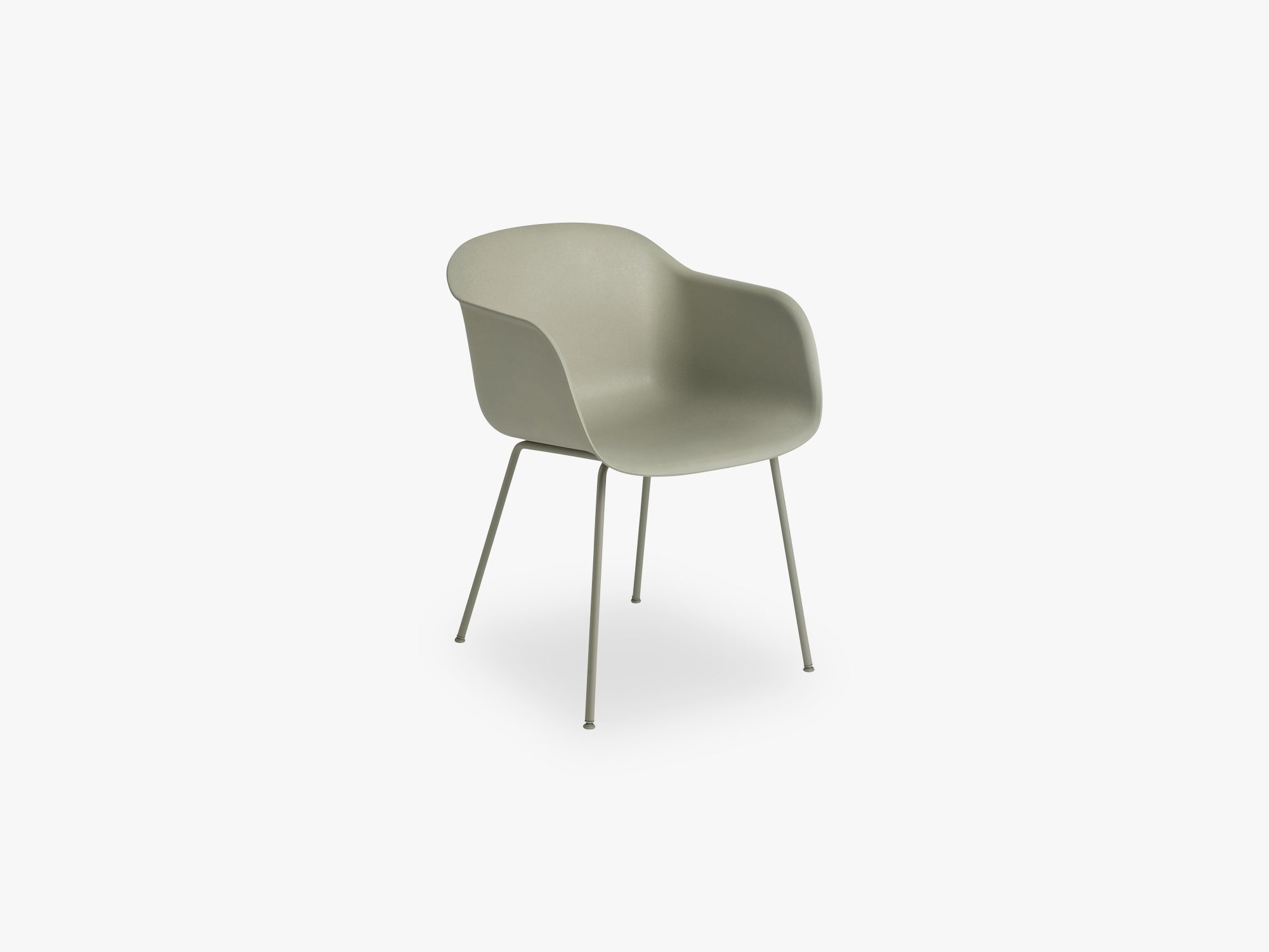 Fiber Armchair - Tube Base - Normal Shell, Dusty Green/Dusty Green fra Muuto