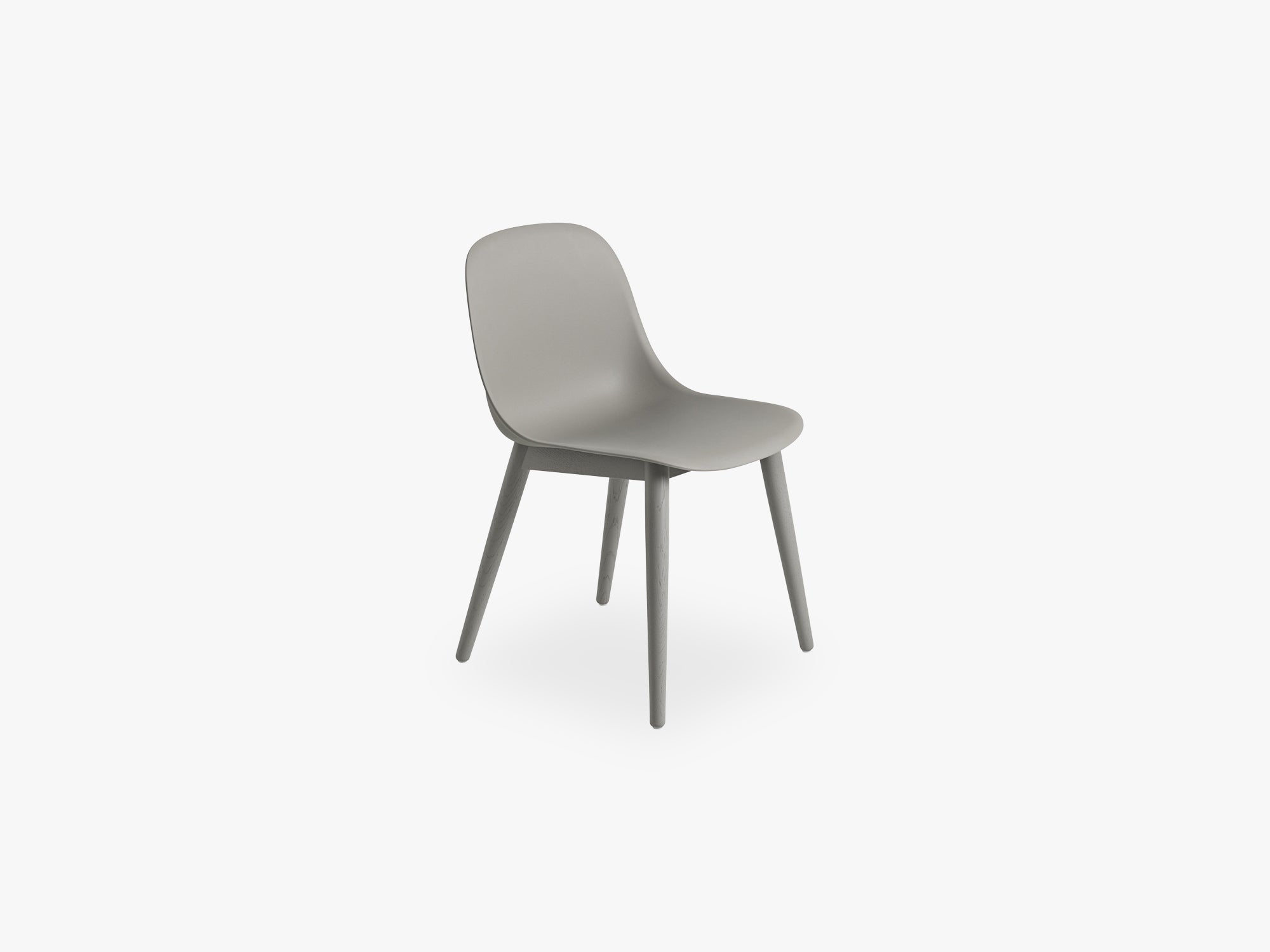 Fiber Side Chair - Wood Base - Normal Shell, Grey/Grey fra Muuto