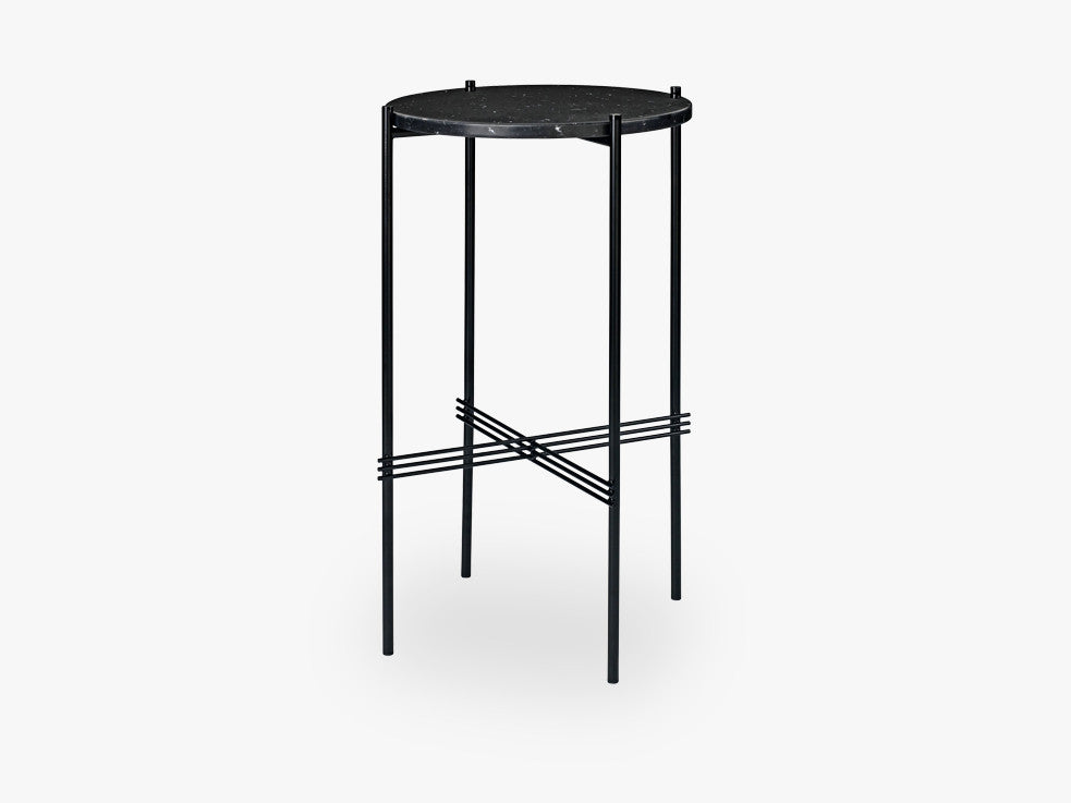 TS Console - Round - Dia 40 Black base, Marble black top fra GUBI