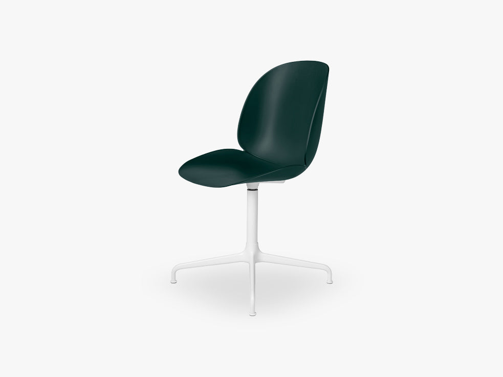 Beetle Meeting chair - Un-upholstered - 4-star swivel White base, Green shell