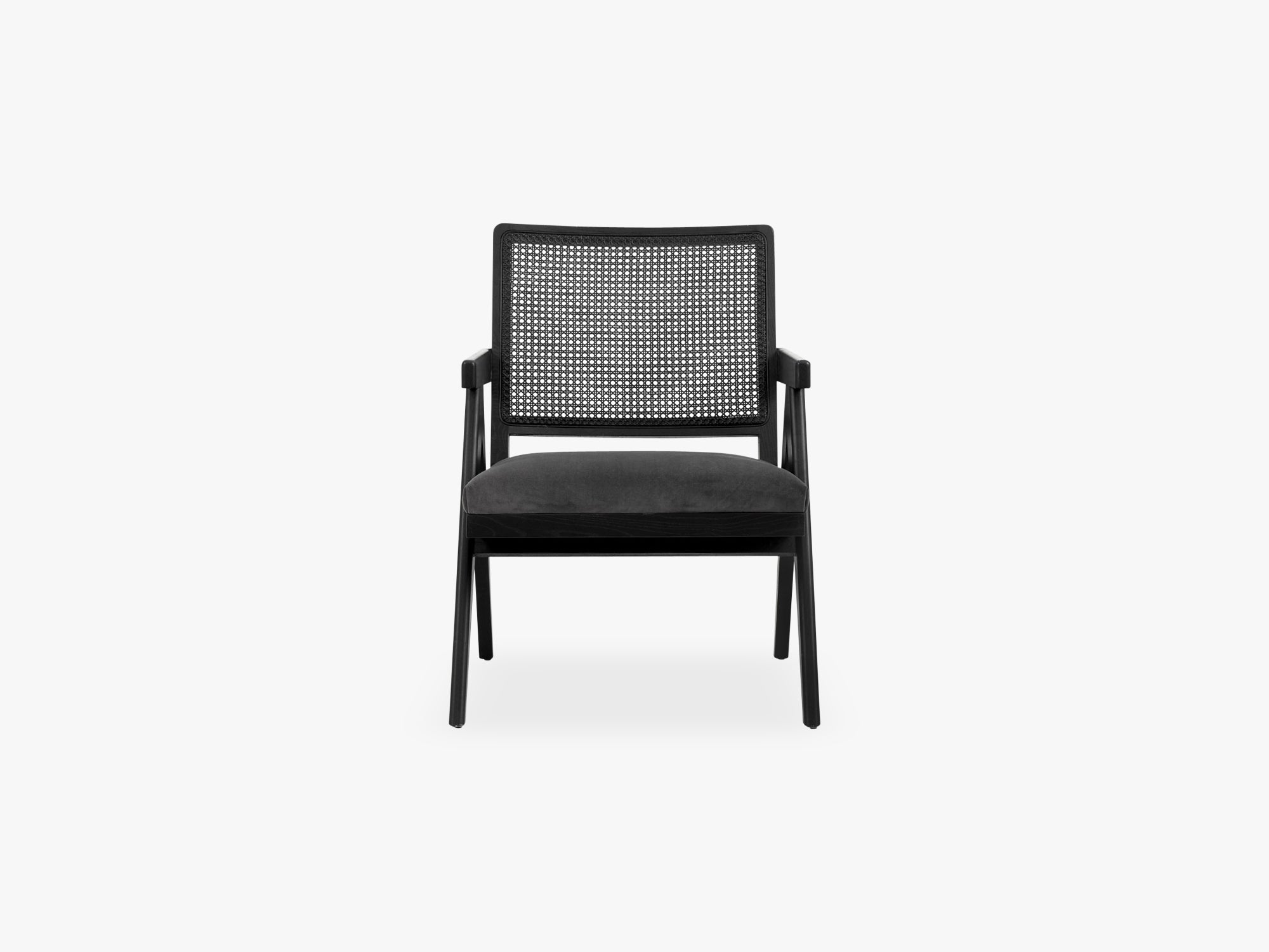 Wickerwork chair - black w grey velvet