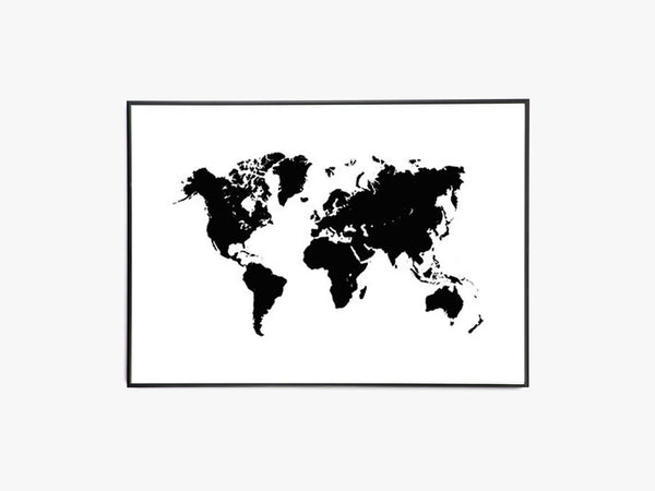 Verdenskort, Worldmap, Sort/Hvid - Beautiful World Plakat fra Beautiful World