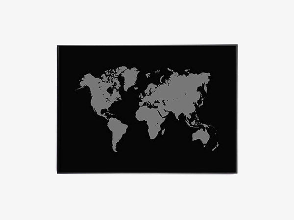 Verdenskort, Worldmap, Sort - Beautiful World Plakat fra Beautiful World