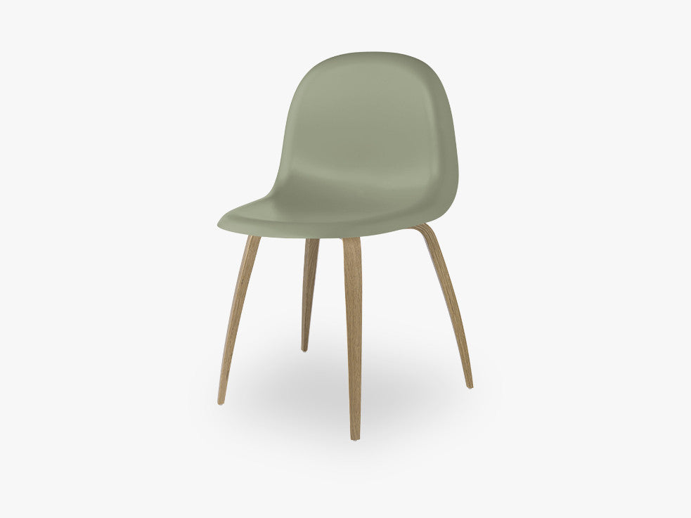 3D Dining Chair - Un-upholstered Oak base, Mistletoe Green shell fra GUBI