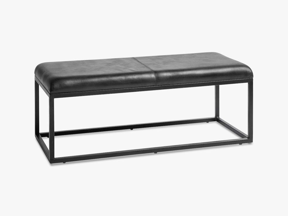 Leather bench w/iron legs, black fra Nordal