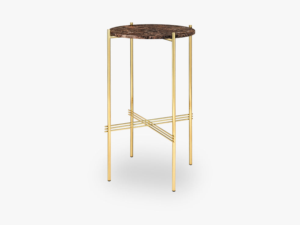 TS Console - Round - Dia 40 Brass base, marble brown top fra GUBI