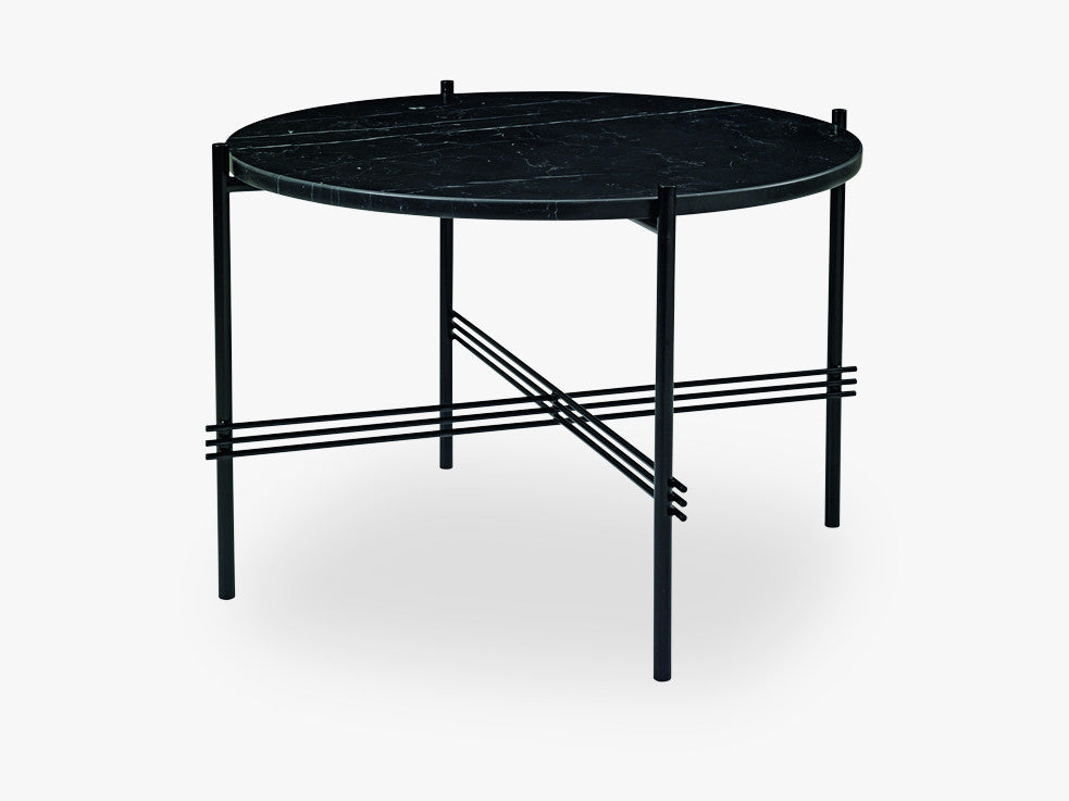 TS Coffee Table - Dia 55 Black base, Marble black top fra GUBI