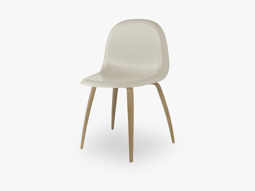 3D Dining Chair - Un-upholstered Oak base, Moon Grey shell fra GUBI