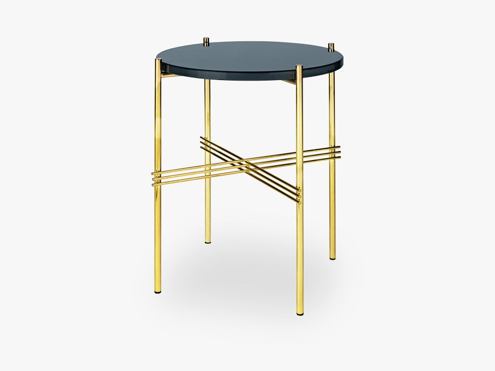 TS Coffee Table - Dia 40 Brass base, glass grey blue top fra GUBI