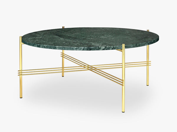 TS Coffee Table - Dia 80 Brass base, marble green top fra GUBI