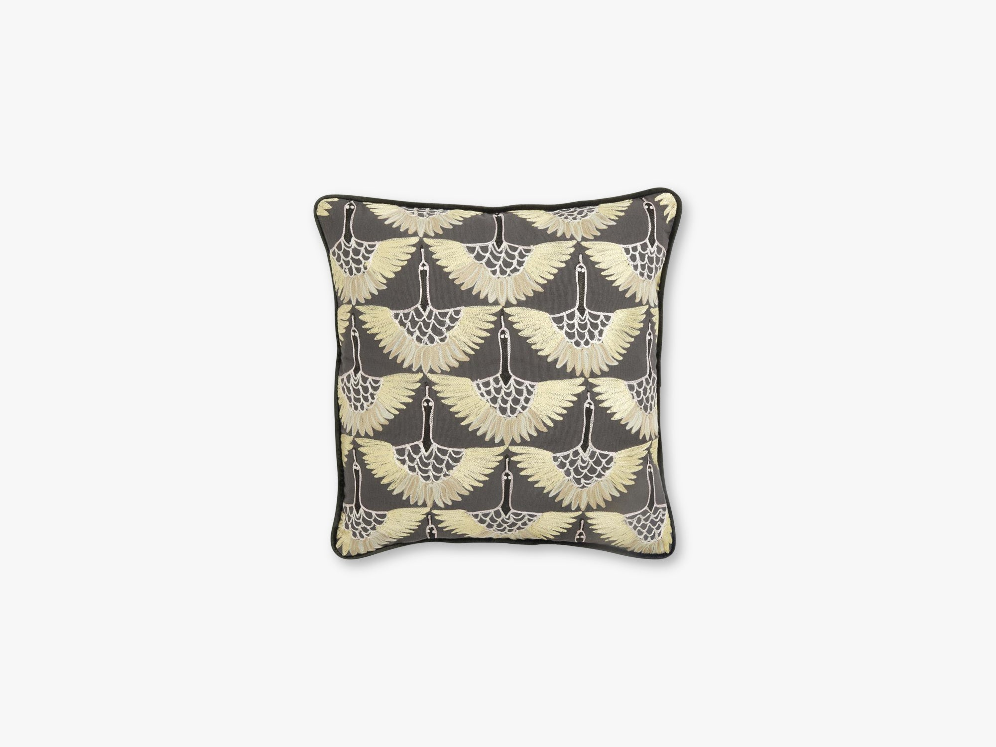 Cushion cover, yellow bird embroidery fra Nordal