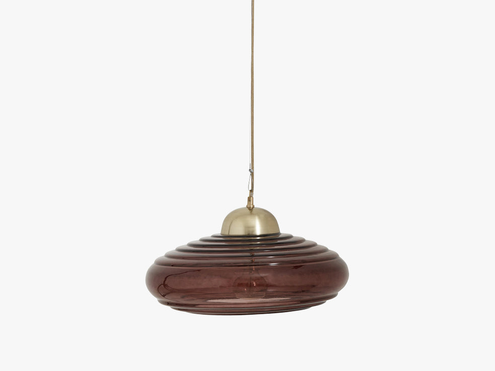 DISC hanging lamp, burgundy glass brass fra Nordal