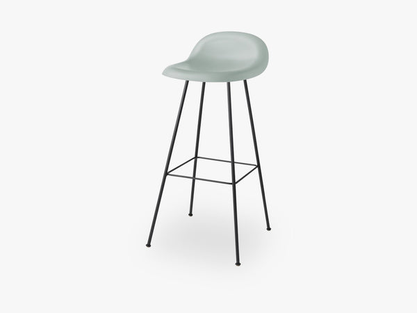 3D Bar Stool - Un-upholstered - 75 cm Center Black base, Nightfall Blue shell fra GUBI