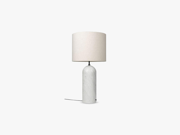Gravity Floor Lamp - XL Low - White Marble base, Canvas fra GUBI