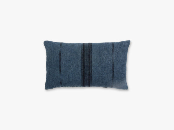 Cushion cover, blue w/black stripes fra Nordal