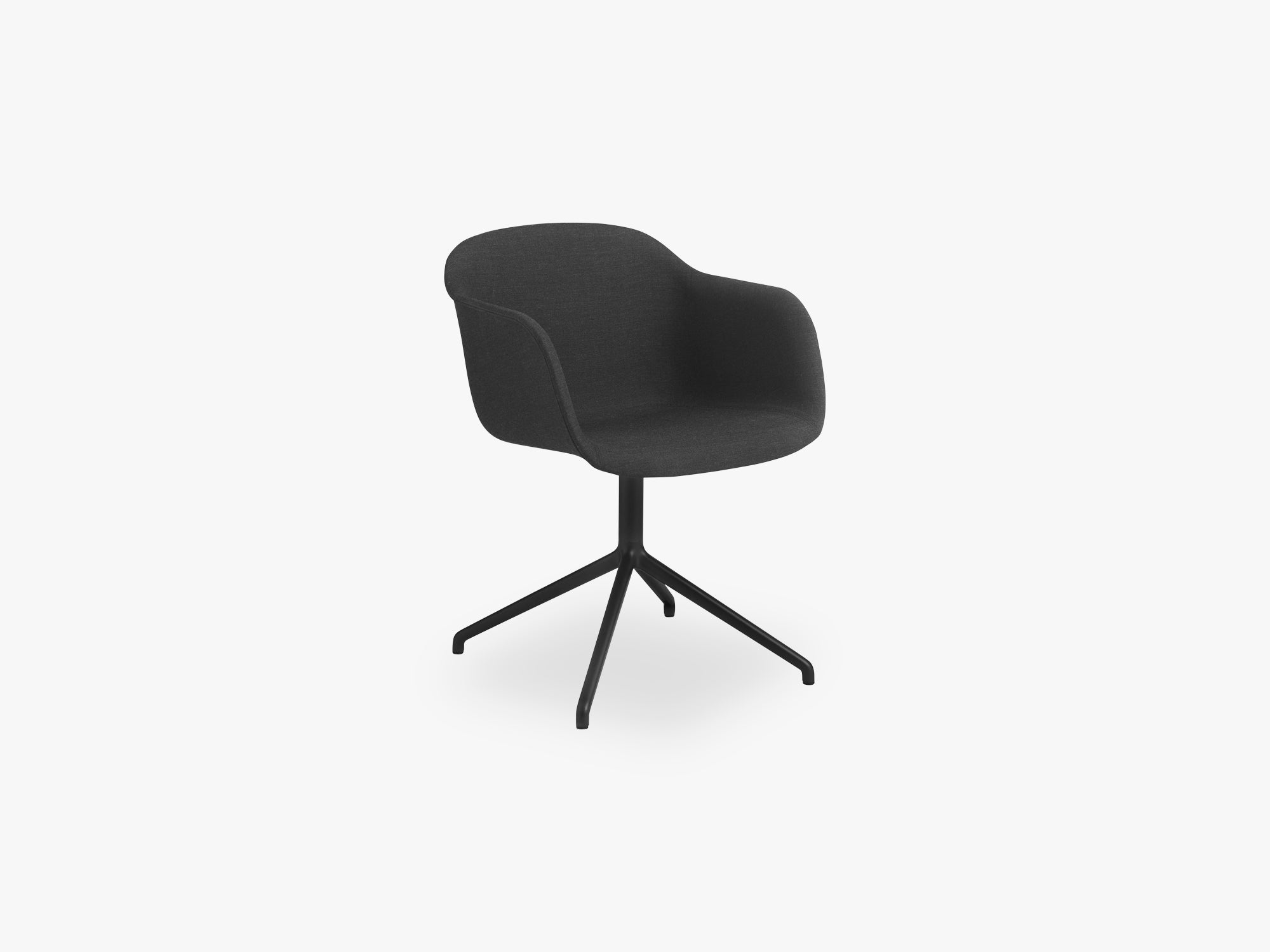 Fiber Armchair - Swivel Base WO Return - Textile Shell, Remix 183 / Black fra Muuto