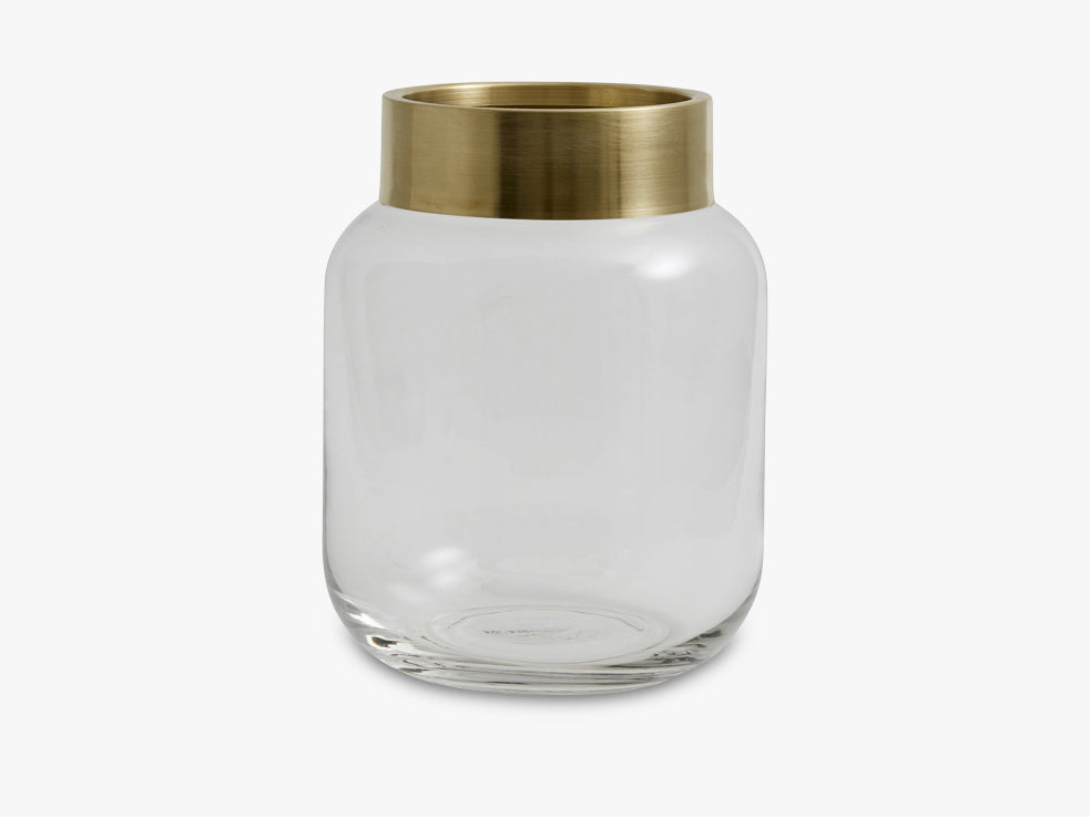 RING deco vase, clear, brass top fra Nordal