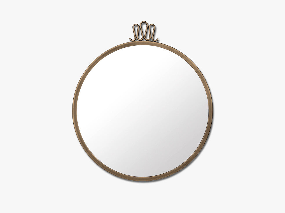 Randaccio Wall mirror - Round, Antique Brass fra GUBI