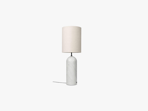 Gravity Floor Lamp - XL High - White Marble base, Canvas fra GUBI