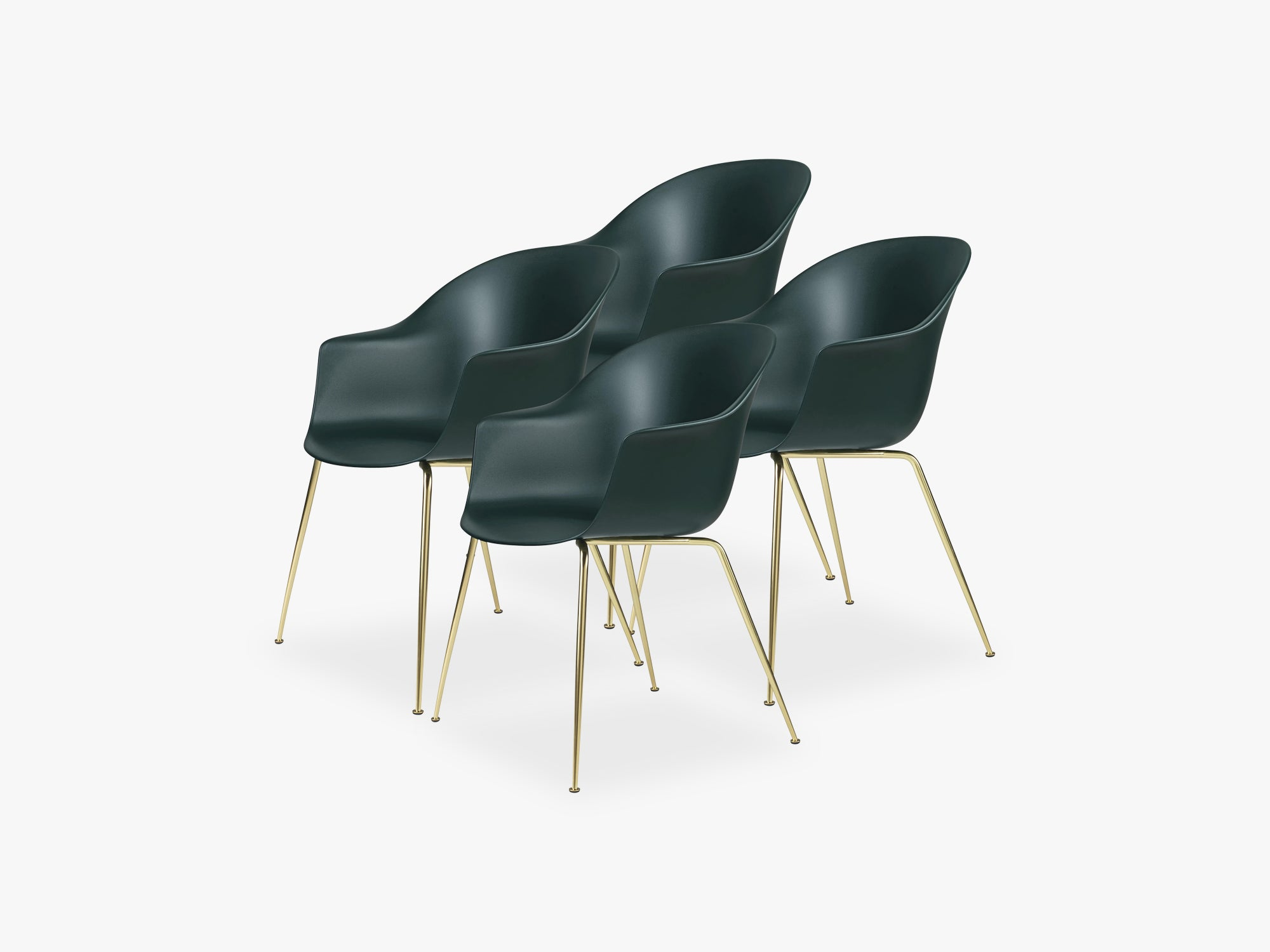 Bat Dining Chair 4 pcs - Conic Brass Semi Matt Base, Dark Green fra GUBI