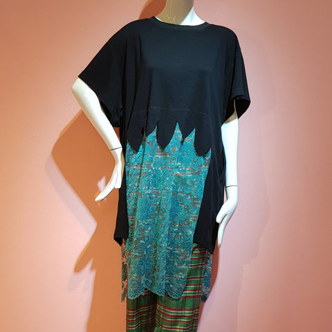 GWEN LACE T-SHIRT DARK CYAN