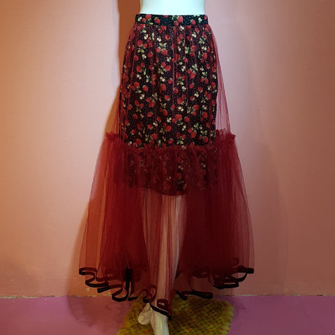 VERONICA GATHERED STRAWBERRY SKIRT RUBY