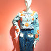 Multi Sequins Denim Top