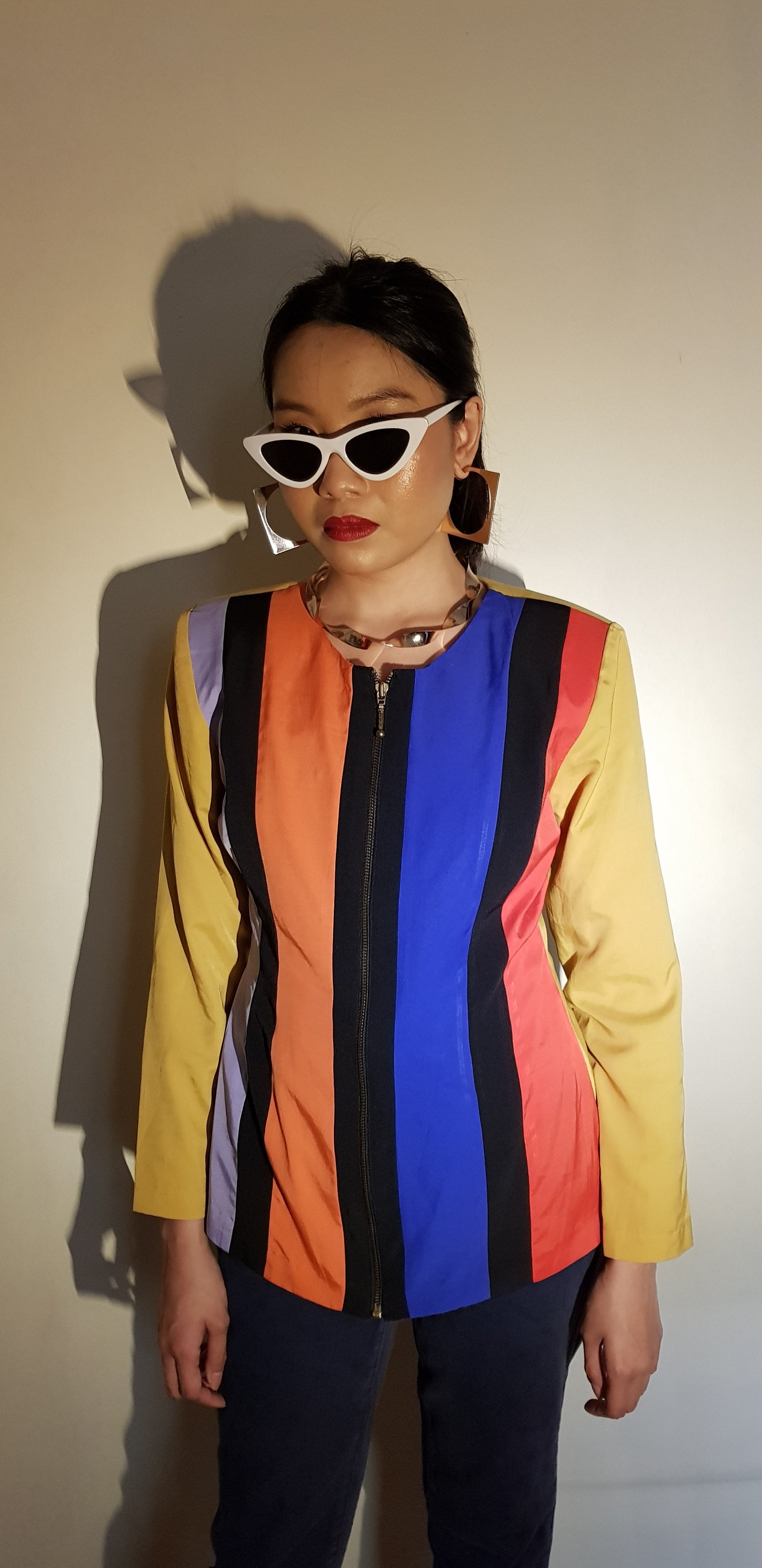 80S COLOUR BLOCK BLAZER