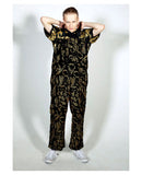 BLACK DUNGAREE IN GOLD EMROIDERY