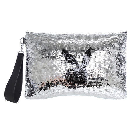 FLASHED BUNNY CLUTCH / SILVER