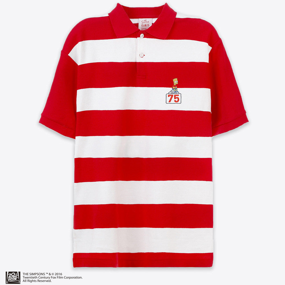 THE SIMPSONS x CLUB 75 - BART ON THE SIGN POLO / RED & WHITE