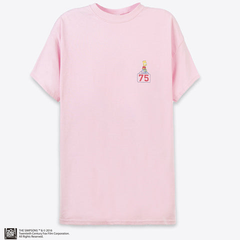 THE SIMPSONS x CLUB 75 - BART ON THE SIGN TEE / PINK