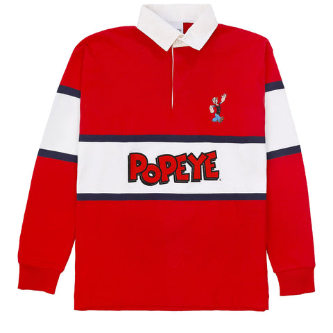 POPEYE - RUGBY SHIRT / RED x NAVY x OFF WHITE
