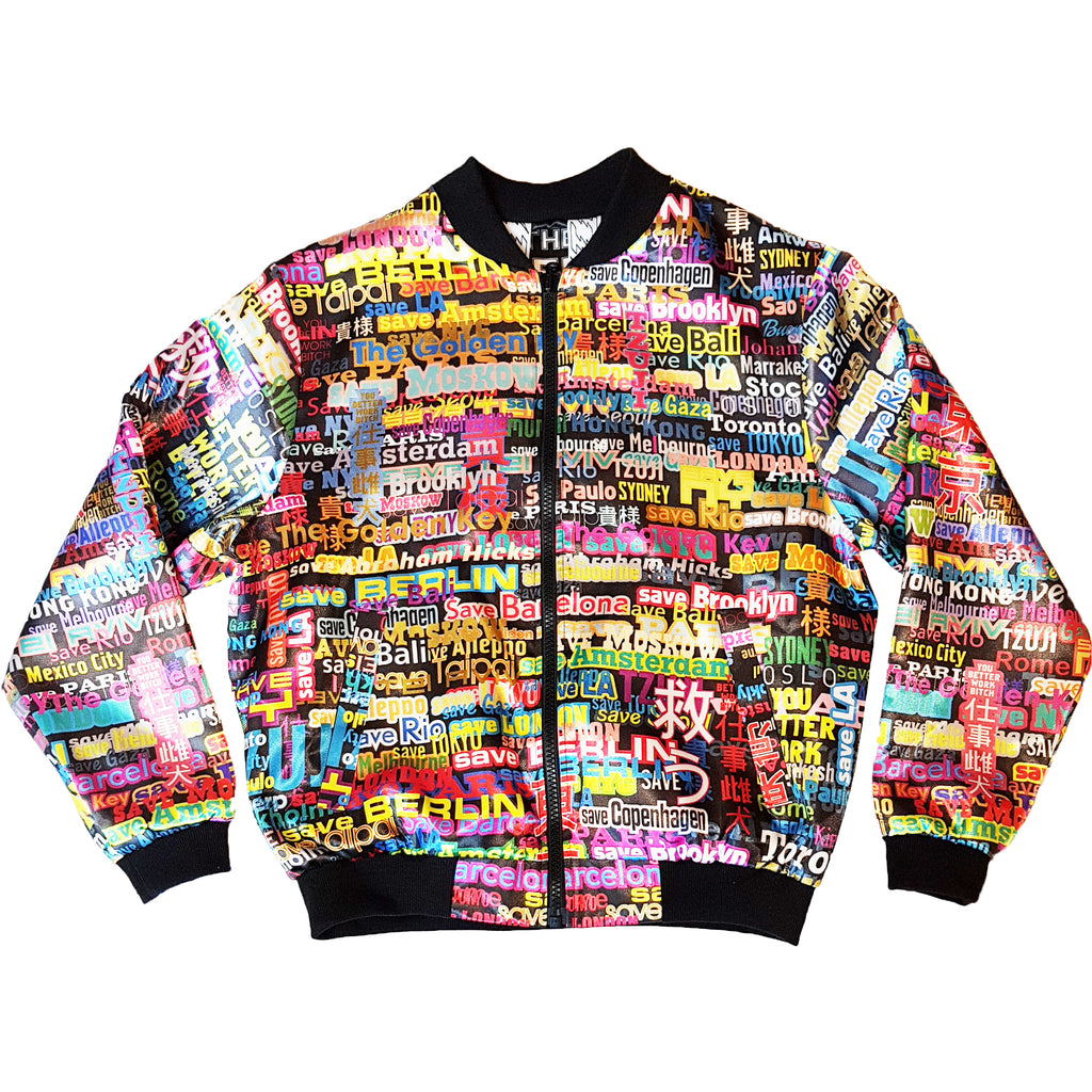 WORD COLLAGE REVERSIBLE JACKET