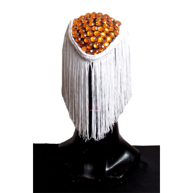 PLASTIC MASK WITH FRINGE FLOWS AND ORANGE BEADS
