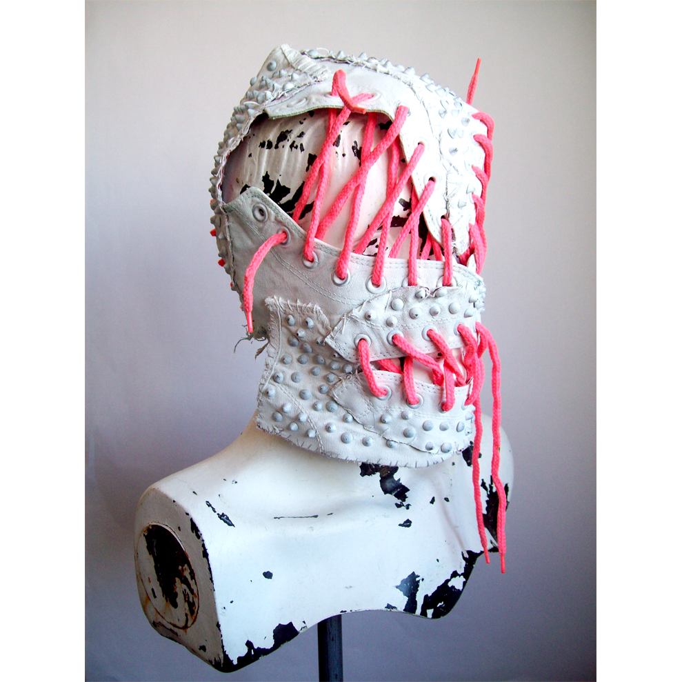 DECONSTRUCTED SHOES WITH PINK LACES MASK