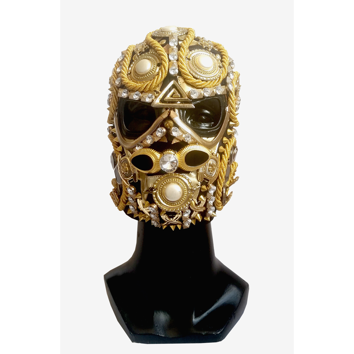 "GOLD EMBELLISHED ""MEXICAN LUCHA"" MASK HANDMADE 4"
