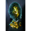 BLUE FUR COLLAR MASK WITH MIRROR LENSES