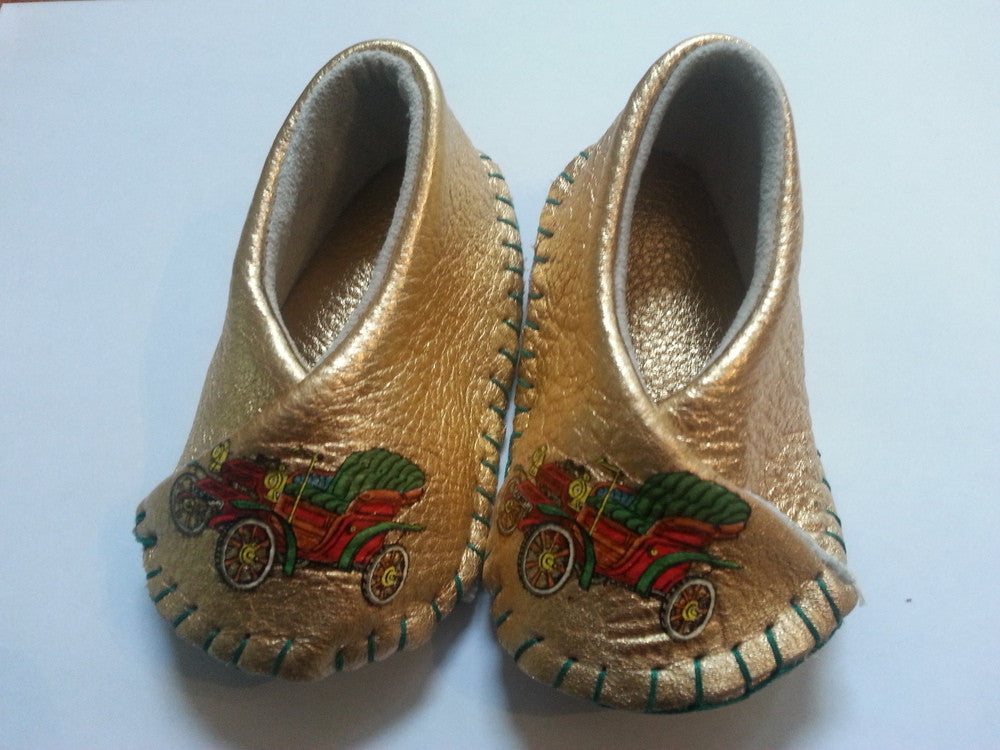 GOLD VA VA VROOM HIKAKU KIMONO LEATHER BABY SHOES