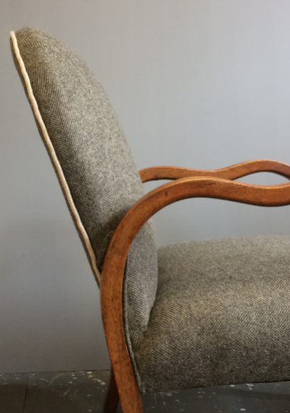 1930s chair re-upholsted by Kiki Voltaire