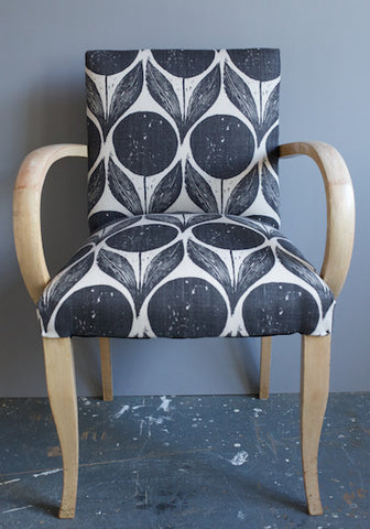 Bridge Chairs in Suvi Ebony Fabric upholstered by Kiki Voltaire