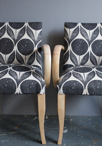 Bridge Chairs | Covered in Suvi Ebony Fabric (Romo)