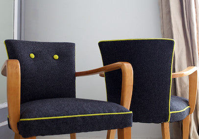 1940's Bridge Chairs in Grey Felt Fabric from Moon