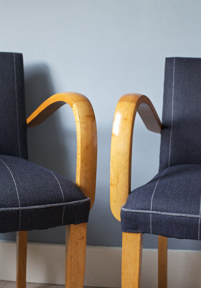 1940's Bridge Chairs in Navy Stripes Fabric from Isle of Mill