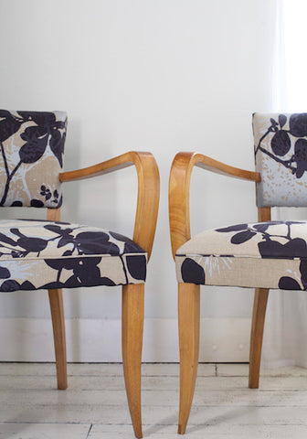 Pair of Bridge Chair in Robert Le Heros Fabric