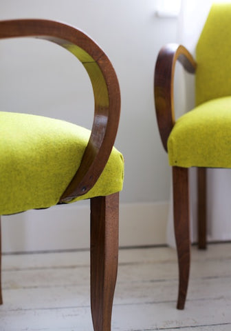 French Vintage Bridge Chairs circa 1940's in Romo Allloy by Kiki Voltaire