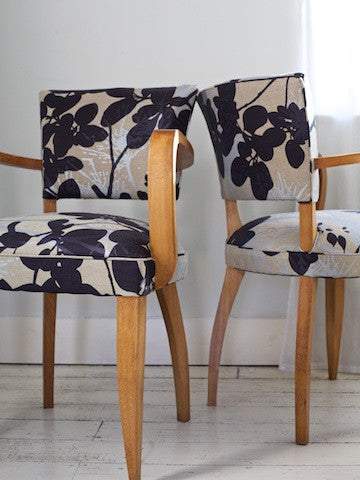 Pair of Bridge Chair in Robert Le Heros Fabric by Kiki Voltaire