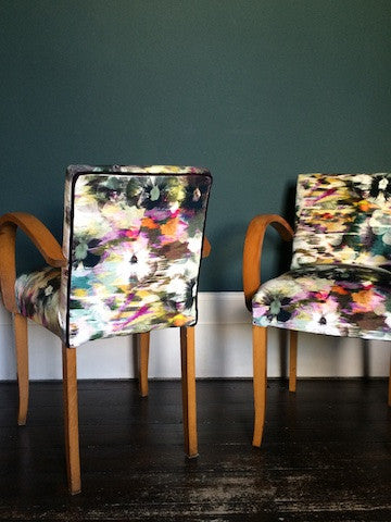 French Vintage Bridge Chairs covered in Romo Black Edition Kansai Velvet Zinnia Fabric