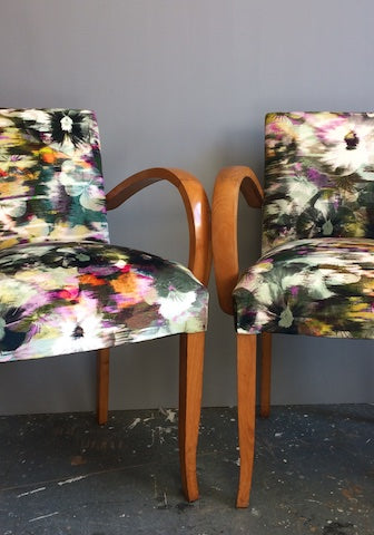 Bridge Chairs | Covered in Romo Kansai Velvet Zinnia Fabric